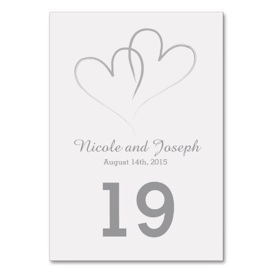 Wedding Table Card - Two Silver Hearts intertwined ...