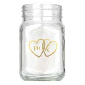Wedding Table Centerpiece Gold Hearts Mason Jar