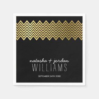 WEDDING TABLE DECOR chevron pattern gold black Paper Napkin