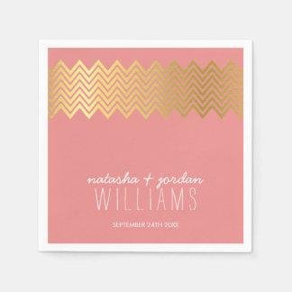 WEDDING TABLE DECOR chevron pattern gold coral Paper Napkin