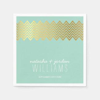 WEDDING TABLE DECOR chevron pattern gold mint Disposable Napkins