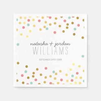 WEDDING TABLE DECOR confetti cute gold mint coral Paper Napkin
