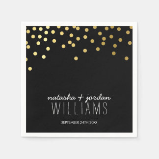WEDDING TABLE DECOR cute confetti spots gold black Standard Cocktail Napkin