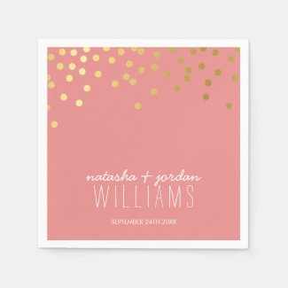 WEDDING TABLE DECOR cute confetti spots gold coral Napkin