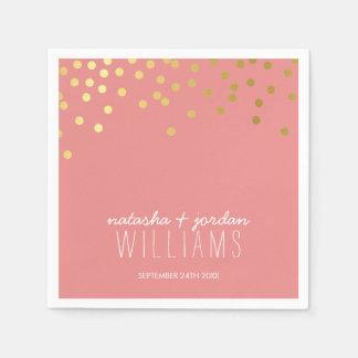WEDDING TABLE DECOR cute confetti spots gold coral Napkin