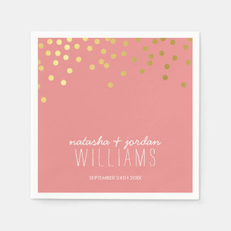 WEDDING TABLE DECOR cute confetti spots gold coral Disposable Napkins