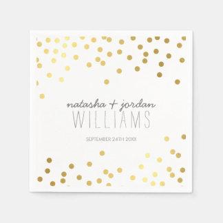 WEDDING TABLE DECOR cute confetti spots gold gray Standard Cocktail Napkin