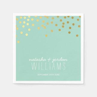 WEDDING TABLE DECOR cute confetti spots gold mint Standard Cocktail Napkin