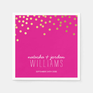 WEDDING TABLE DECOR cute confetti spots gold pink Napkin