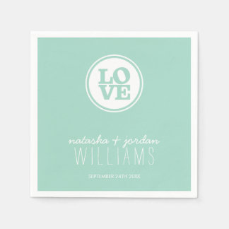 WEDDING TABLE DECOR love spot typography cool mint Disposable Napkin