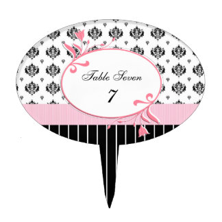 Wedding Table Number Black And White Damask Cake Toppers