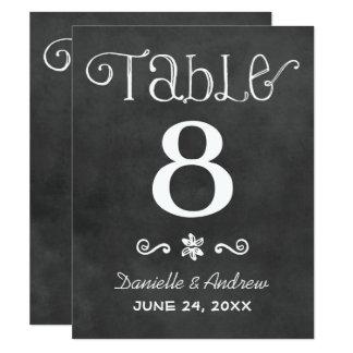 Wedding Table Number   Black Chalkboard Charm Card