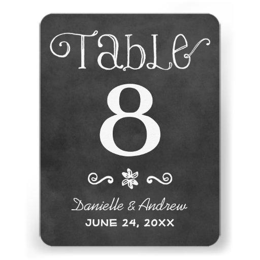 Wedding Table Number   Black Chalkboard Charm Custom Invites
