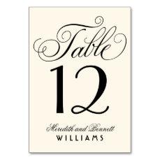 Wedding Table Number | Black Script Monogram