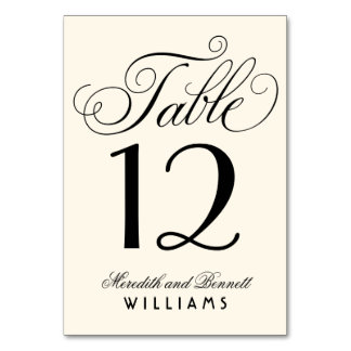 Wedding Table Number | Black Script Monogram