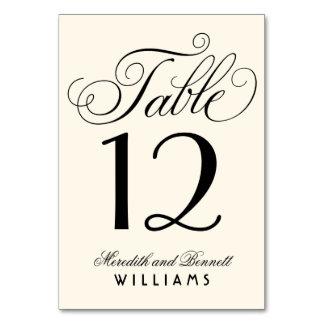 Wedding Table Number   Black Script Monogram Card
