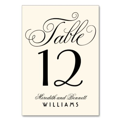 Wedding Table Number | Black Script Monogram Card