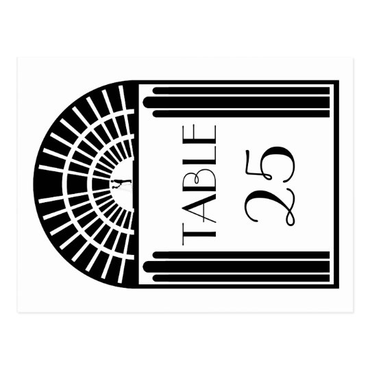 Wedding Table Number Black & White Art Deco Style Postcard