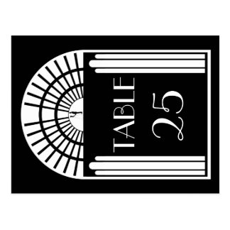 Wedding Table Number Black & White Art Deco Style Post Card