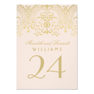 Wedding Table Number | Blush Gold Vintage Glamour 5x7 Paper Invitation Card