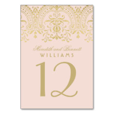 Wedding Table Number | Blush Gold Vintage Glamour Card at Zazzle