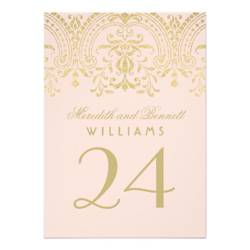 Wedding Table Number | Blush Gold Vintage Glamour Custom Announcements
