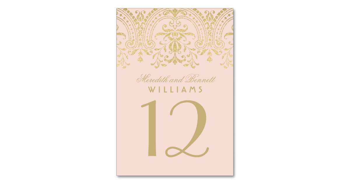 Wedding Table Number Blush Gold Vintage Glamour Table Card Rbe6b4ebbcad94e77a4841dc2ec029423