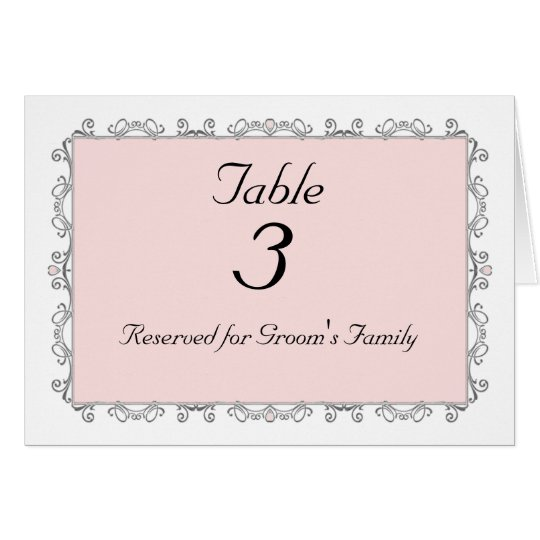 Wedding Table Number Card