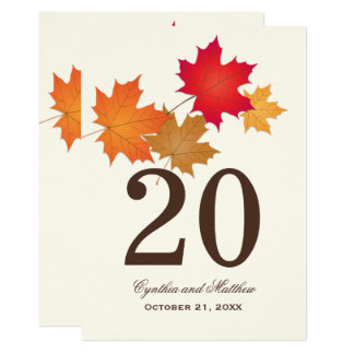Wedding Table Number Card | Autumn Leaves