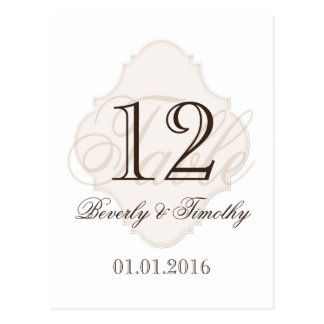 Wedding table number card Beige Brown White