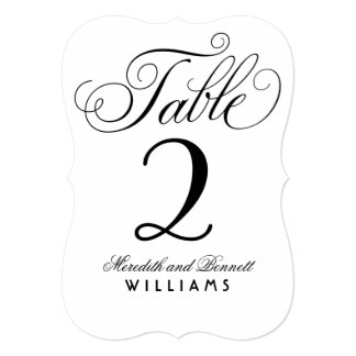 Wedding Table Number Card | Black Script on Silver