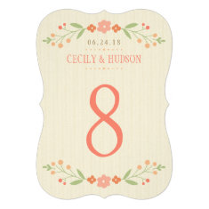 Wedding Table Number Card | Country Florals Pink Custom Invite