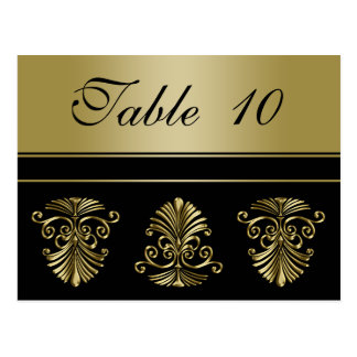 Wedding Table Number Card Gold and Black Damask