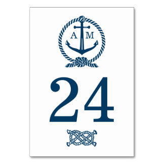 Wedding Table Number Card | Nautical Theme Table Cards