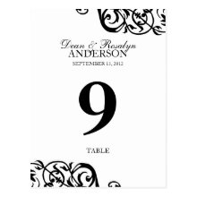 Wedding table number card party reception B&W Post Cards