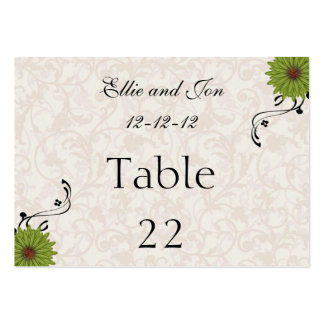 WEDDING TABLE NUMBER  CARD TEMPLATES BUSINESS CARD