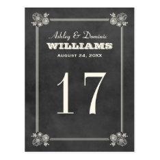 Wedding Table Number Card | Vintage Chalkboard at Zazzle
