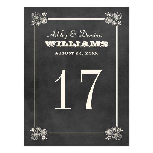 Wedding table number postcards postcard template designs for Table number design template