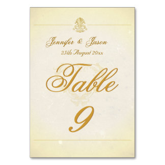 Wedding Table Number Card Vintage Parchment Paper
