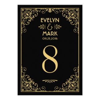 Wedding Table Number Cards Art Deco Style