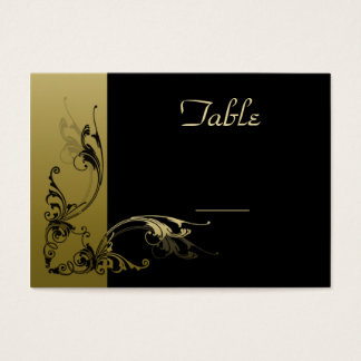 Wedding Table Number Cards  Black and Gold Effect