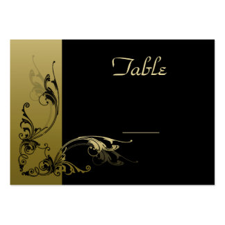 Wedding Table Number Cards  Black and Gold Effect Business Card Templates