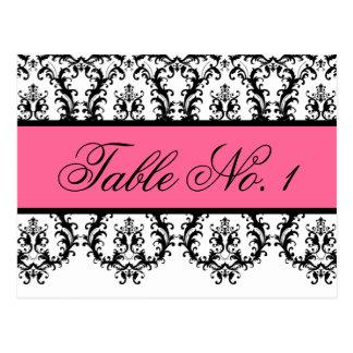 Wedding Table Number Cards Black Damask Pink