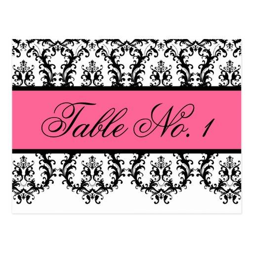 Wedding Table Number Cards Black Damask Pink Postcard
