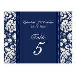 Wedding Table Number Cards Blue Damask