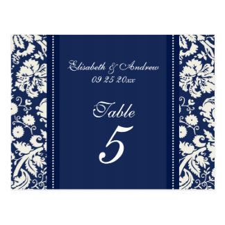 Wedding Table Number Cards Blue Damask