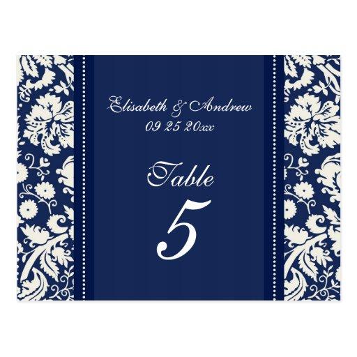 Wedding Table Number Cards Blue Damask Postcards