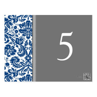 Wedding Table Number Cards Blue Grey Postcard