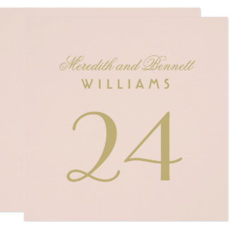 Wedding Table Number Cards | Blush and Gold