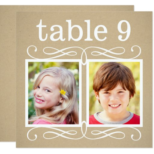 """Wedding Table Number Cards Bride + Groom Photos 5.25"""" Square Invitation Card"""